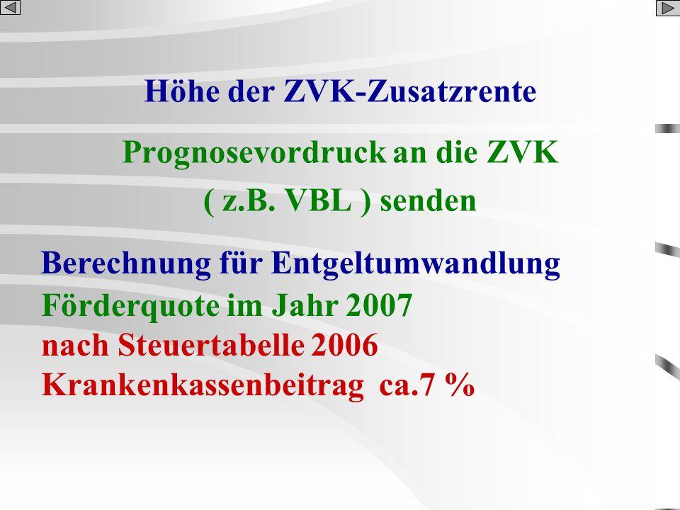 Höhe der ZVK-Zusatzrente Prognosevordruck an die ZVK