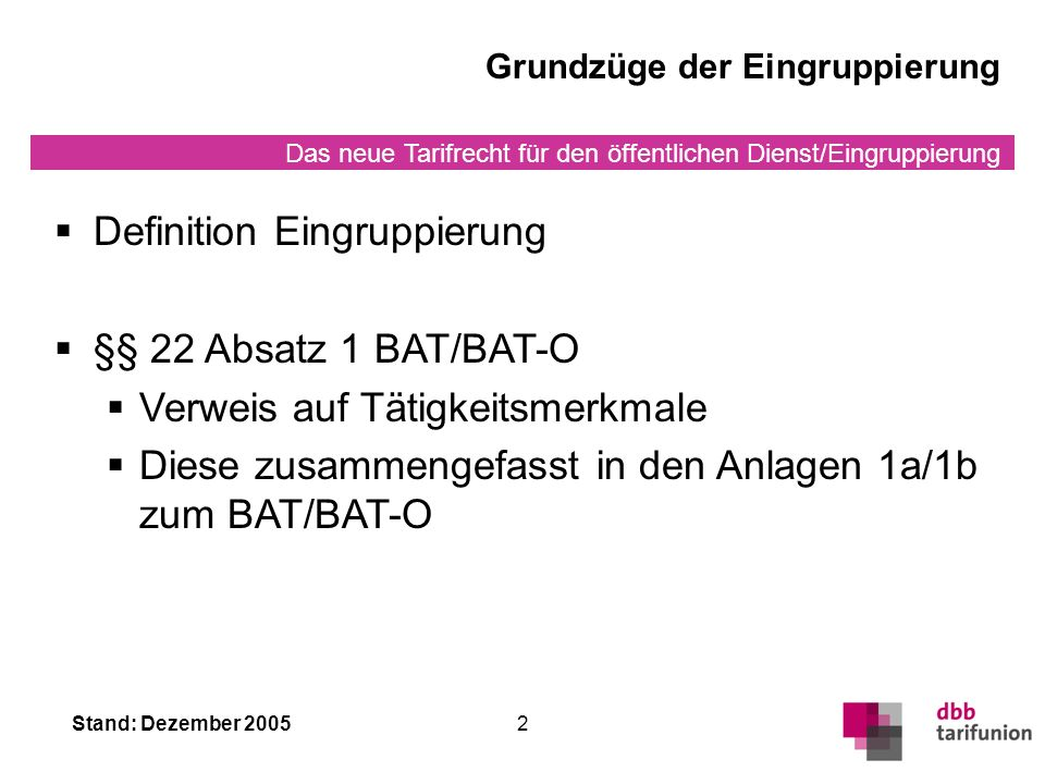 Definition Eingruppierung §§ 22 Absatz 1 BAT/BAT-O