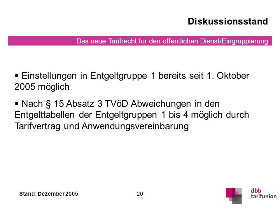 Diskussionsstand Einstellungen in Entgeltgruppe 1 bereits seit 1. Oktober 2005 möglich.