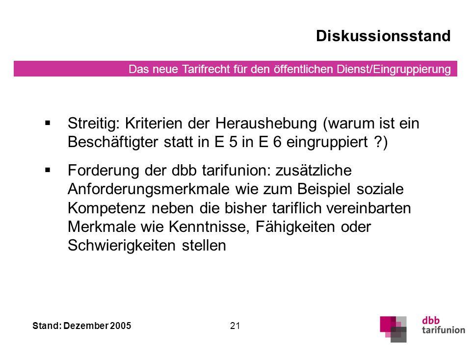 Diskussionsstand Streitig: Kriterien der Heraushebung (warum ist ein Beschäftigter statt in E 5 in E 6 eingruppiert )
