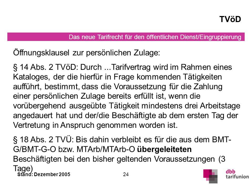 TVöD Öffnungsklausel zur persönlichen Zulage: