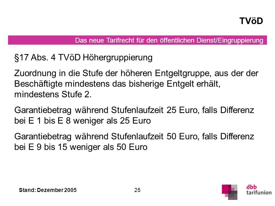 TVöD §17 Abs. 4 TVöD Höhergruppierung