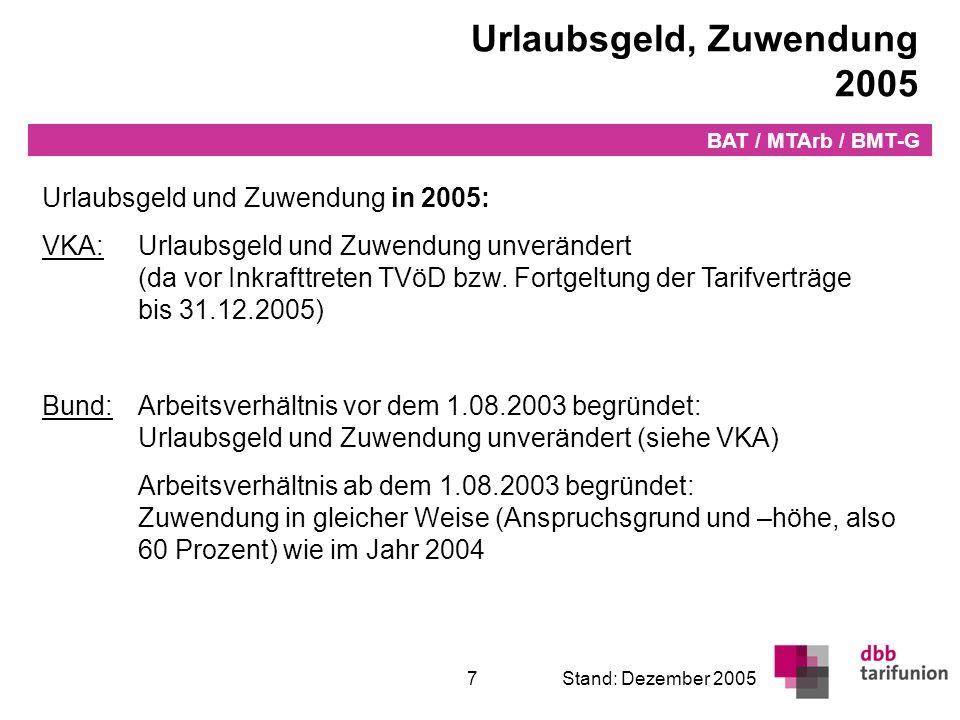 Jahressonderzahlung 2006 Jahressonderzahlung in 2006 (Bund/VKA):