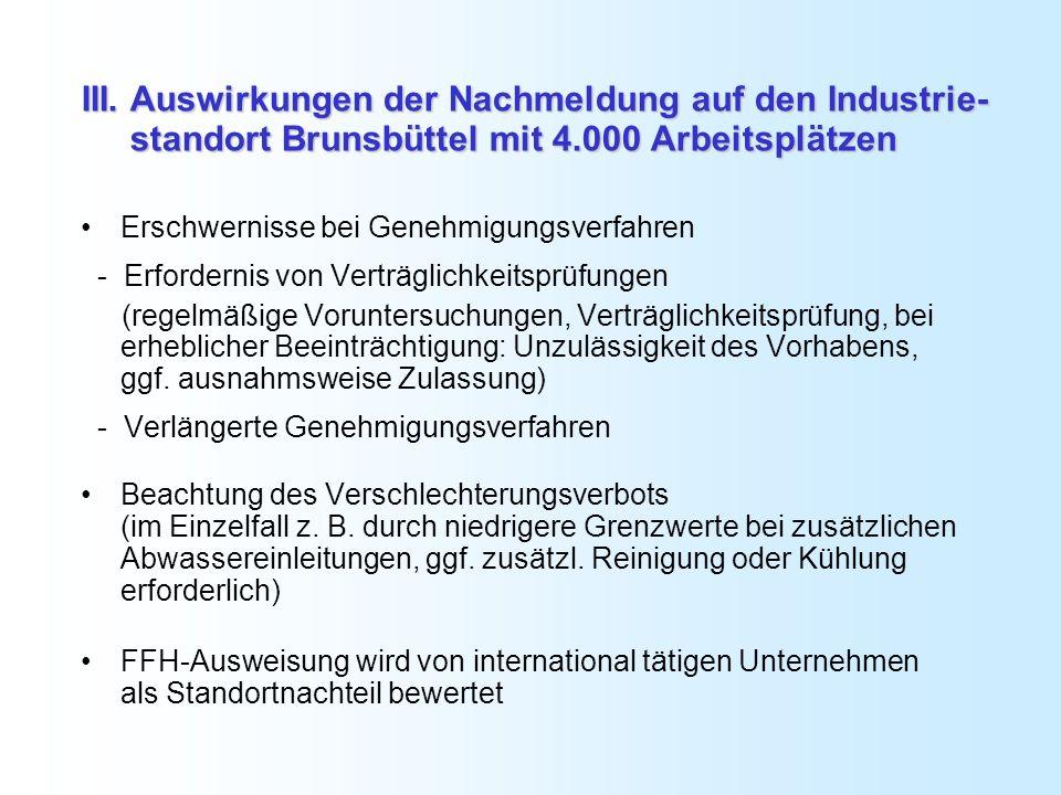 III. Auswirkungen der Nachmeldung auf den Industrie- standort Brunsbüttel mit 4.000 Arbeitsplätzen