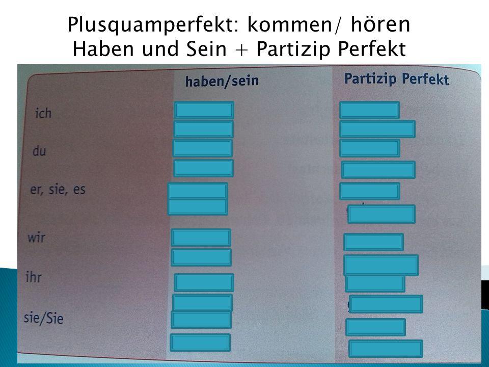 Plusquamperfekt: kommen/ hören Haben und Sein + Partizip Perfekt