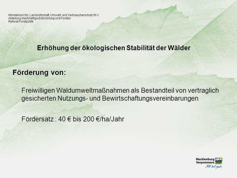 Erhöhung der ökologischen Stabilität der Wälder