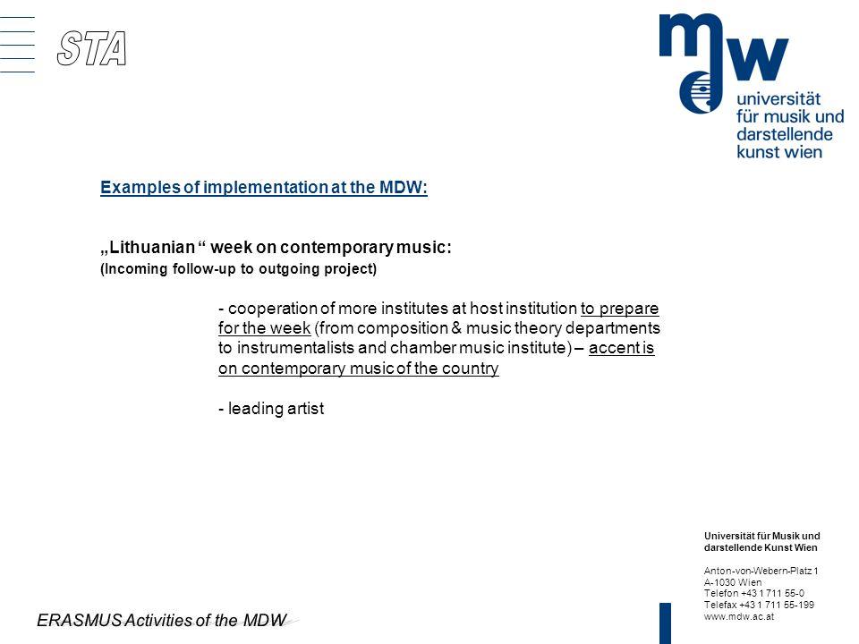 ERASMUS Activities of the MDW