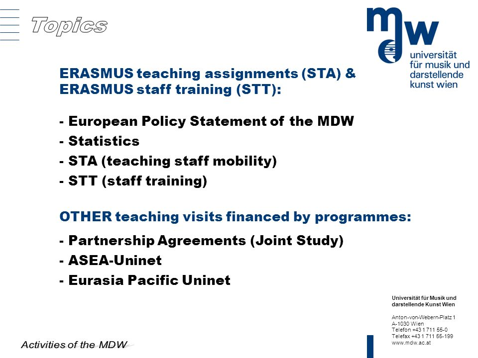 ERASMUS teaching assignments (STA) & ERASMUS staff training (STT):