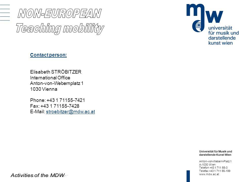 NON-EUROPEAN Teaching mobility Contact person: Elisabeth STRÖBITZER