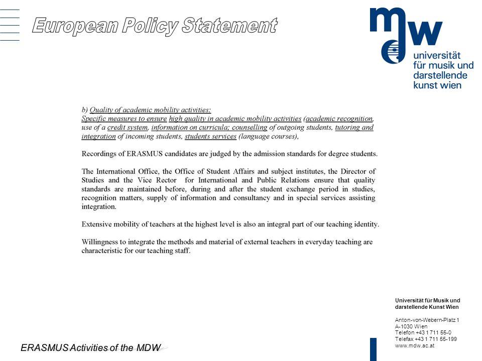 European Policy Statement