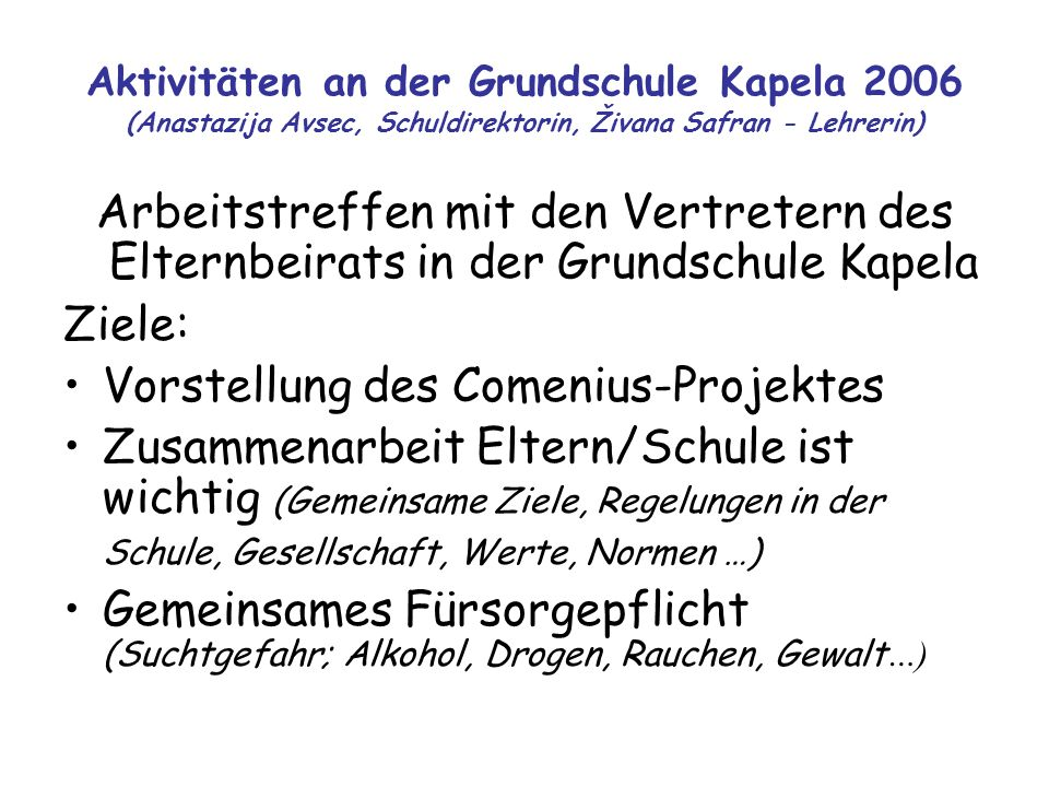 Vorstellung des Comenius-Projektes