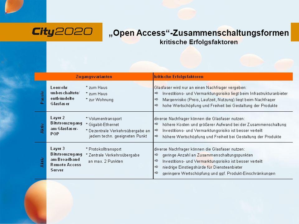 """""""Open Access -Zusammenschaltungsformen kritische Erfolgsfaktoren"""