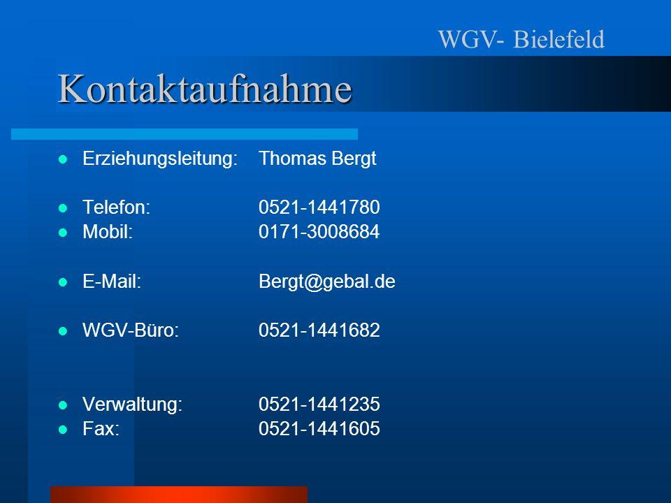Kontaktaufnahme WGV- Bielefeld Erziehungsleitung: Thomas Bergt