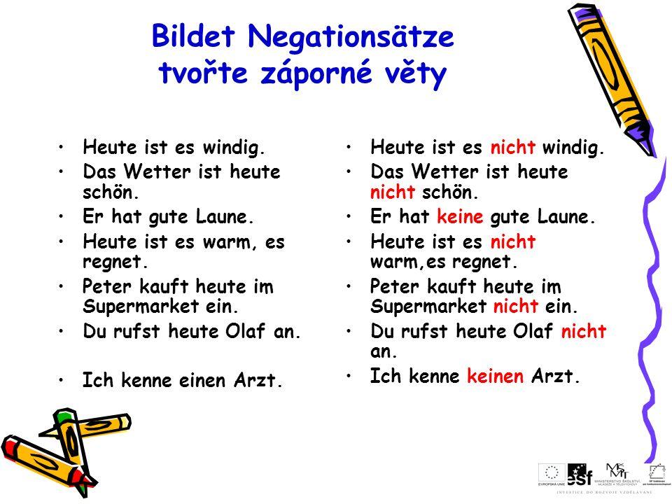 Bildet Negationsätze tvořte záporné věty