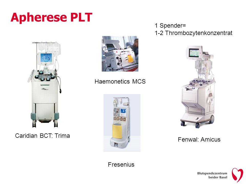 Apherese PLT 1 Spender= 1-2 Thrombozytenkonzentrat Haemonetics MCS