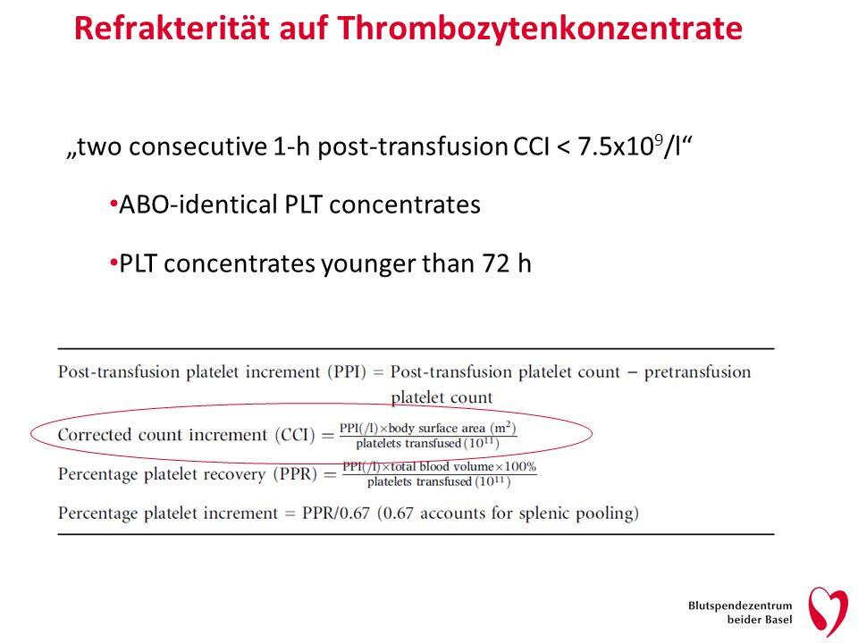 Refrakterität auf Thrombozytenkonzentrate