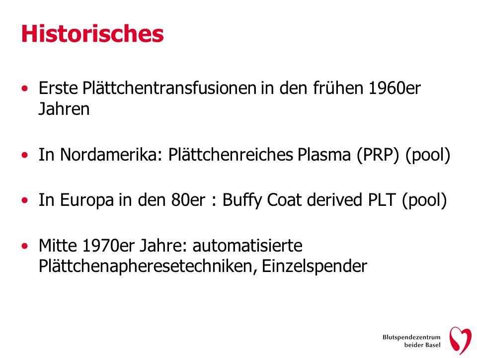Historisches Erste Plättchentransfusionen in den frühen 1960er Jahren