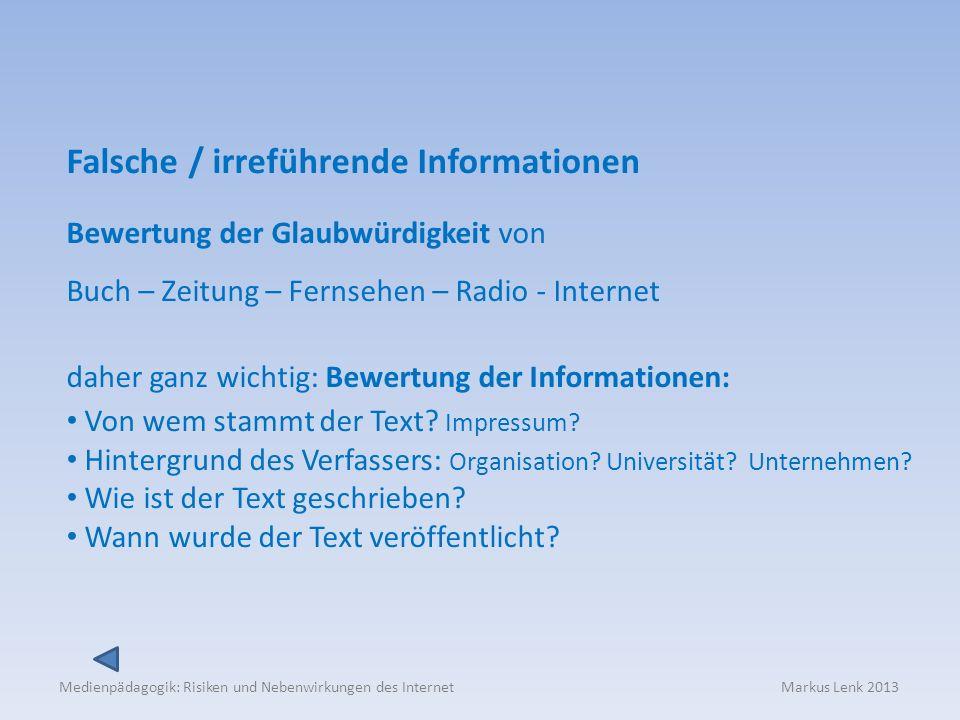 Falsche / irreführende Informationen