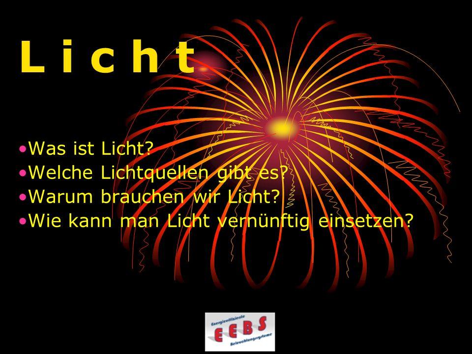 L i c h t Was ist Licht Welche Lichtquellen gibt es