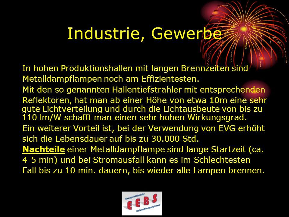 Industrie, Gewerbe In hohen Produktionshallen mit langen Brennzeiten sind. Metalldampflampen noch am Effizientesten.