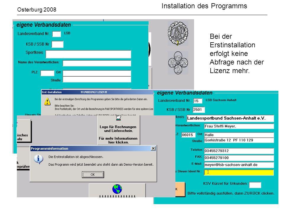 Installation des Programms