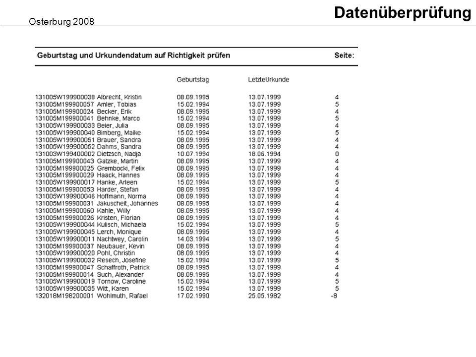 Datenüberprüfung Osterburg 2008
