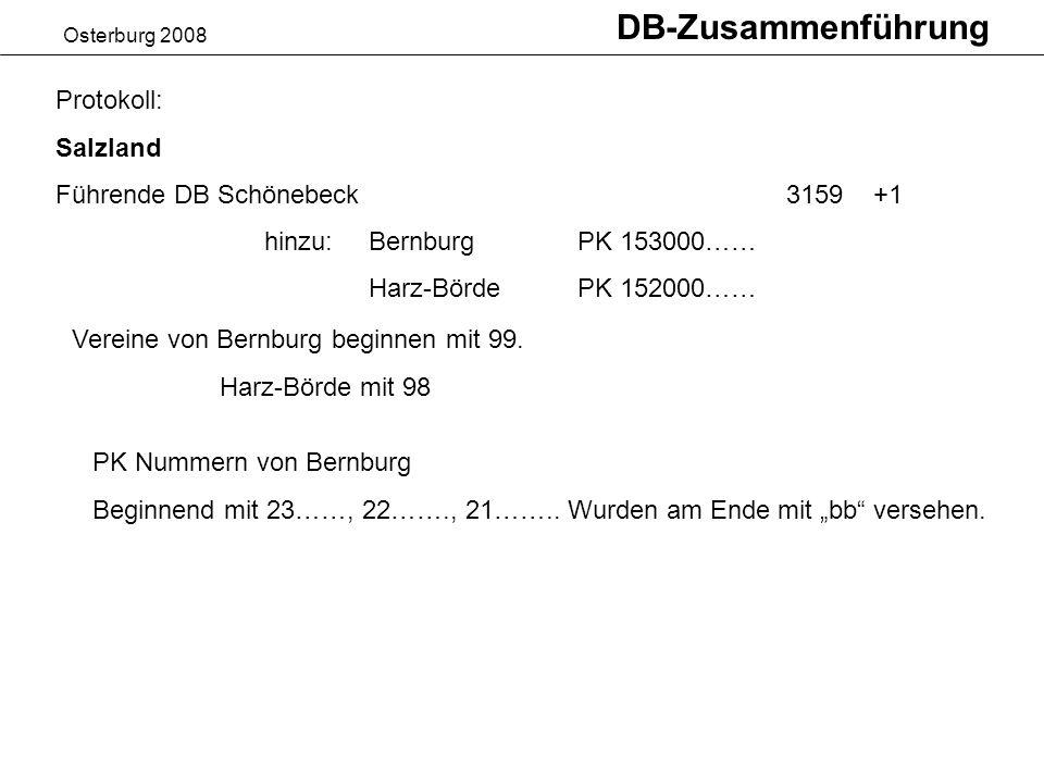 DB-Zusammenführung Protokoll: Salzland Führende DB Schönebeck 3159 +1