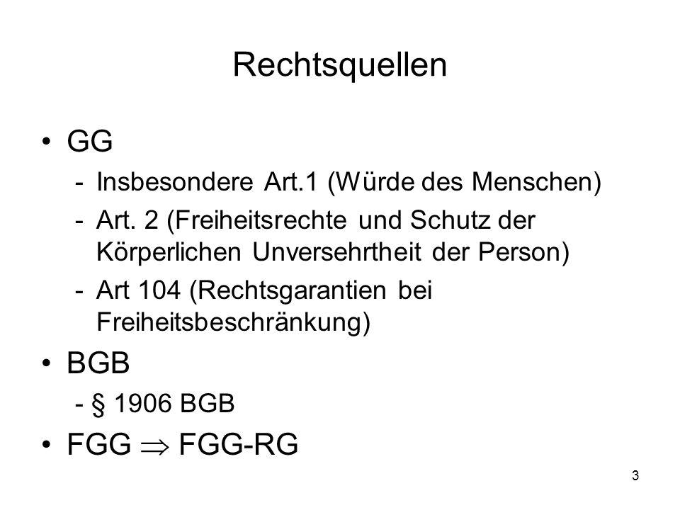 Rechtsquellen GG BGB FGG  FGG-RG