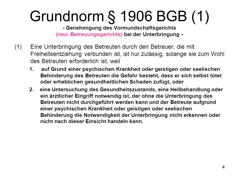 Grundnorm § 1906 BGB (1) - Genehmigung des Vormundschaftsgerichts (neu: Betreuungsgerichts) bei der Unterbringung -