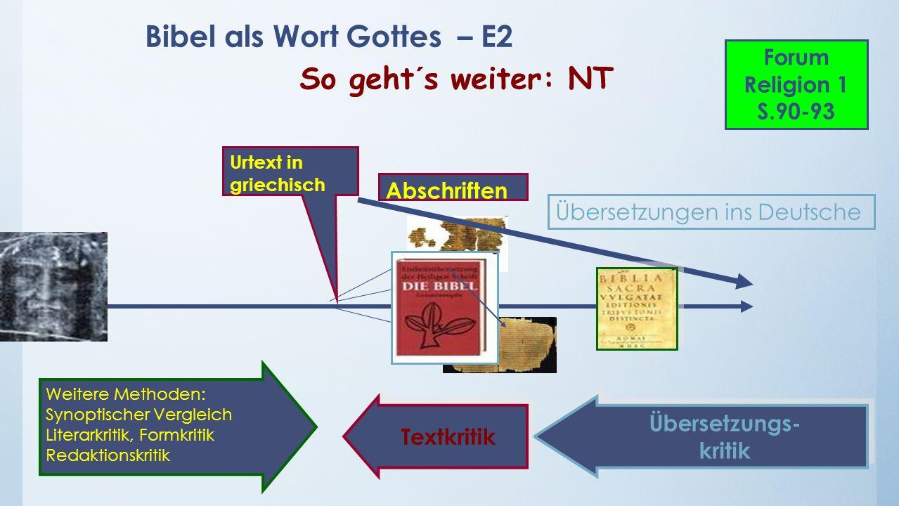 Bibel als Wort Gottes – E2 So geht´s weiter: NT