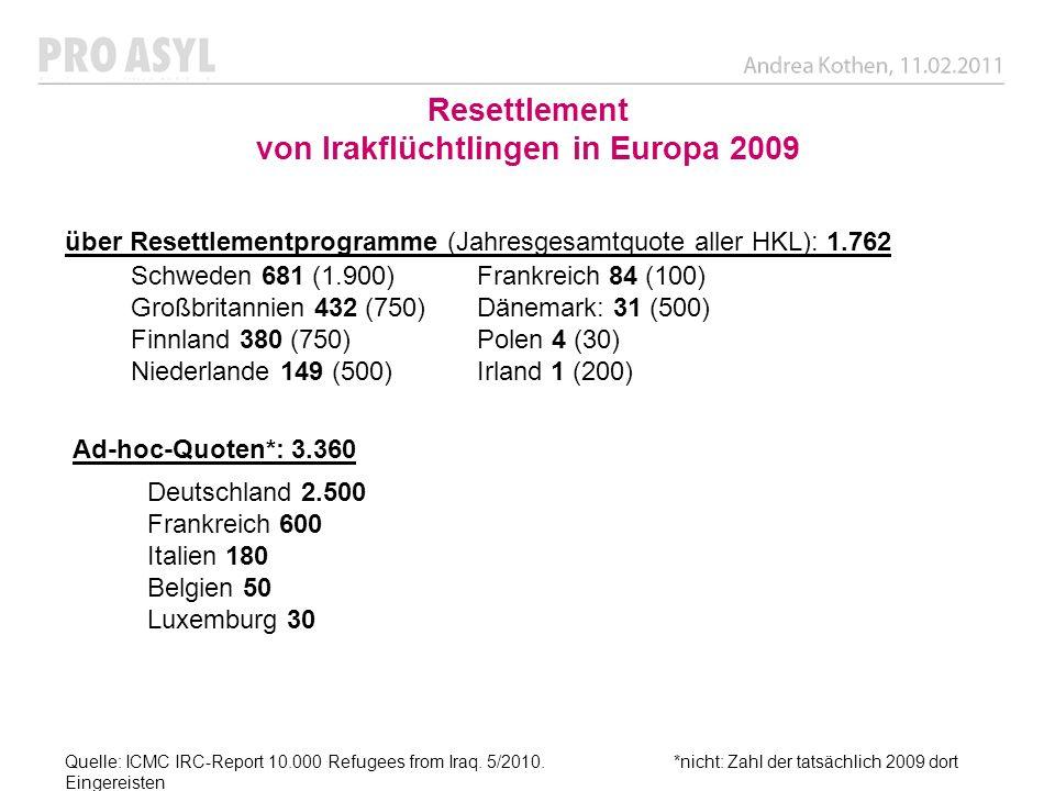 Resettlement von Irakflüchtlingen in Europa 2009