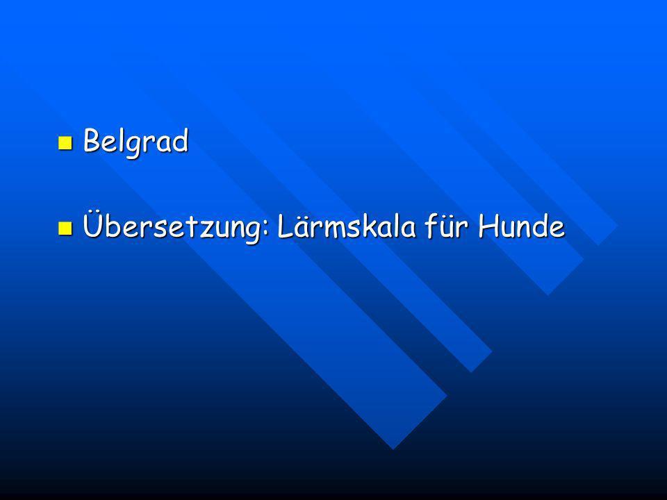 Belgrad Übersetzung: Lärmskala für Hunde