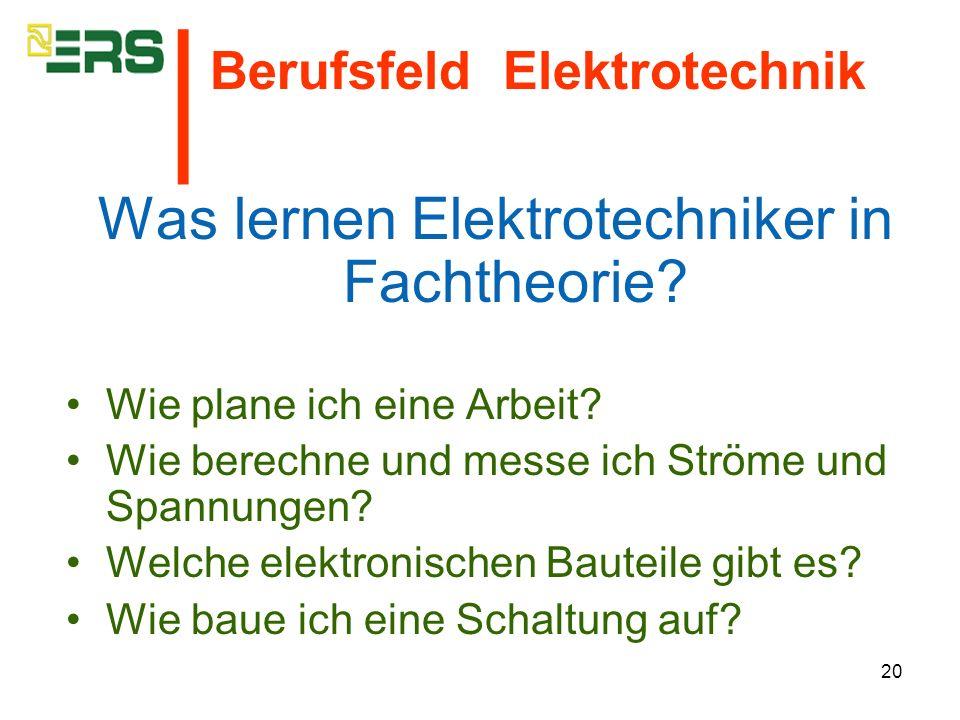 Was lernen Elektrotechniker in Fachtheorie