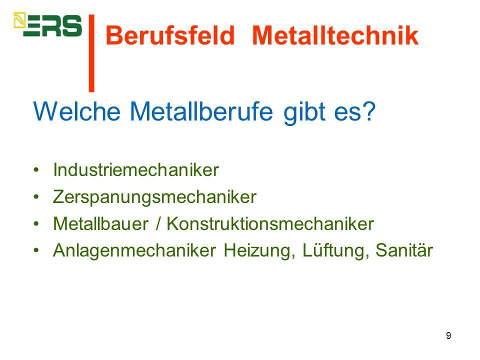 │ Berufsfeld Metalltechnik Welche Metallberufe gibt es