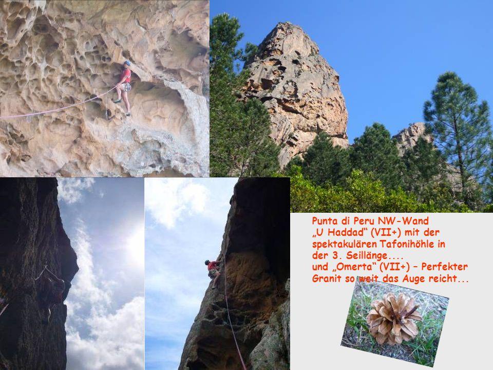 """Punta di Peru NW-Wand """"U Haddad (VII+) mit der. spektakulären Tafonihöhle in. der 3. Seillänge...."""