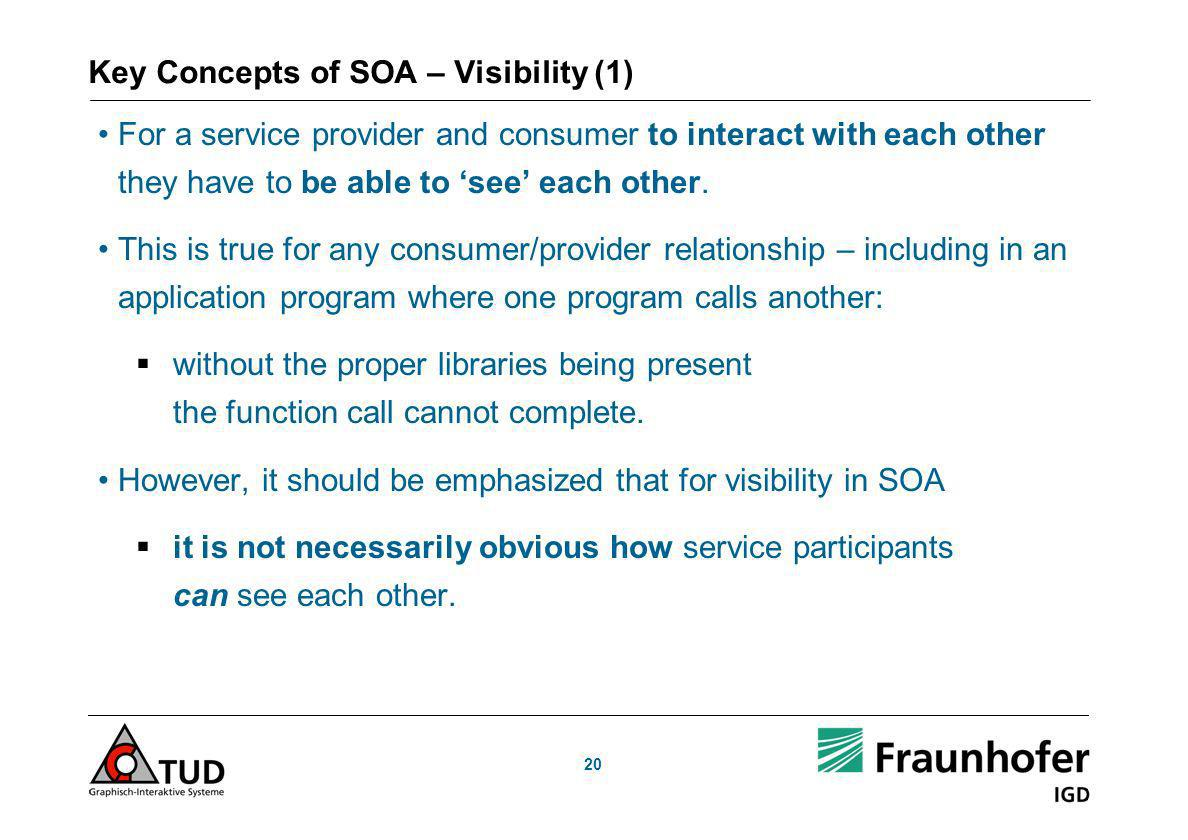 Key Concepts of SOA – Visibility (1)