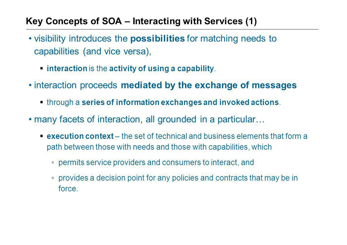Key Concepts of SOA – Interacting with Services (1)