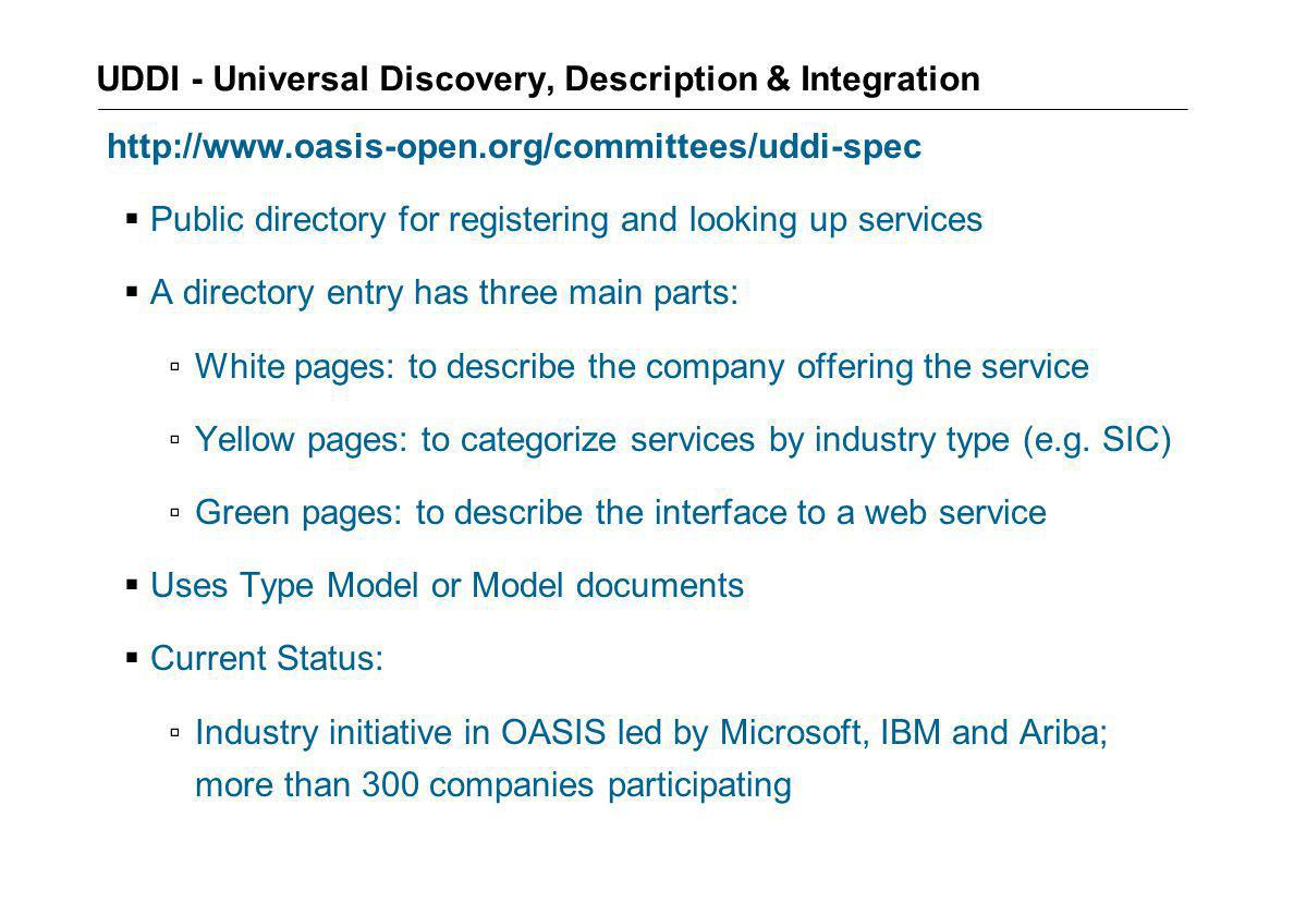 UDDI - Universal Discovery, Description & Integration