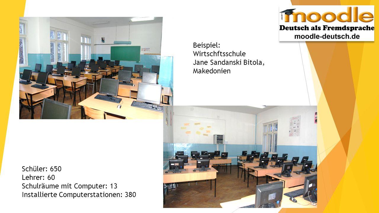 Beispiel: Wirtschftsschule. Jane Sandanski Bitola, Makedonien. Schüler: 650. Lehrer: 60. Schulräume mit Computer: 13.