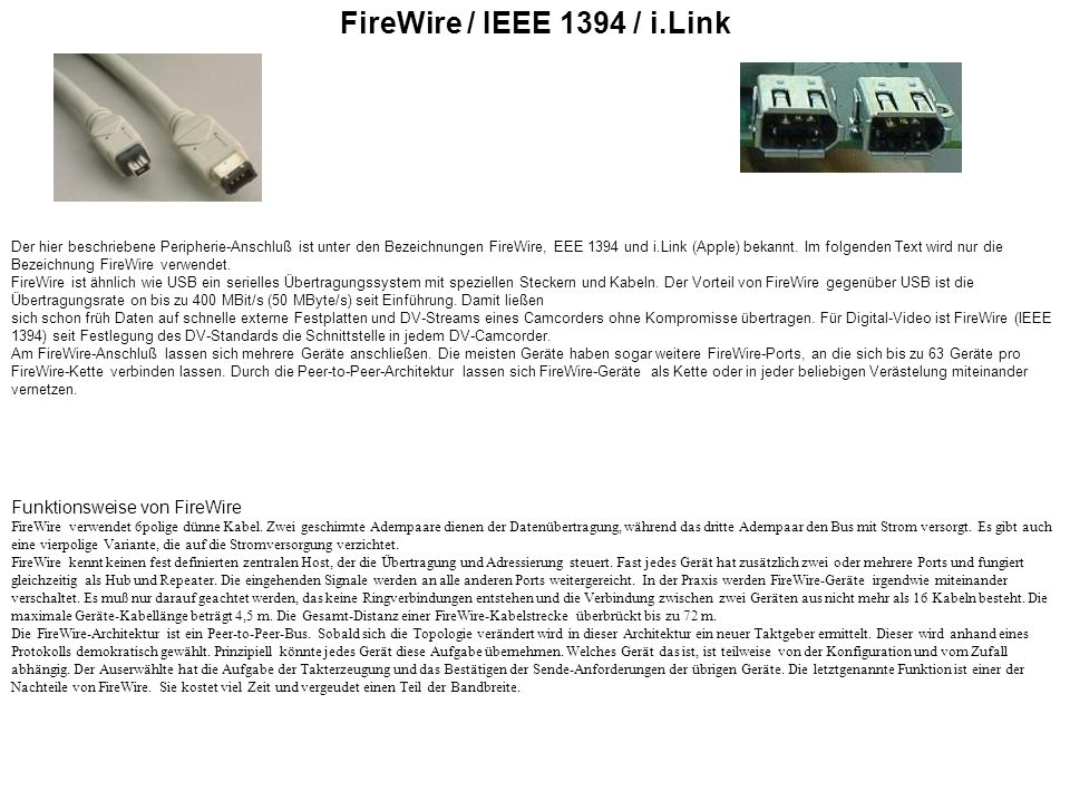 FireWire / IEEE 1394 / i.Link Funktionsweise von FireWire