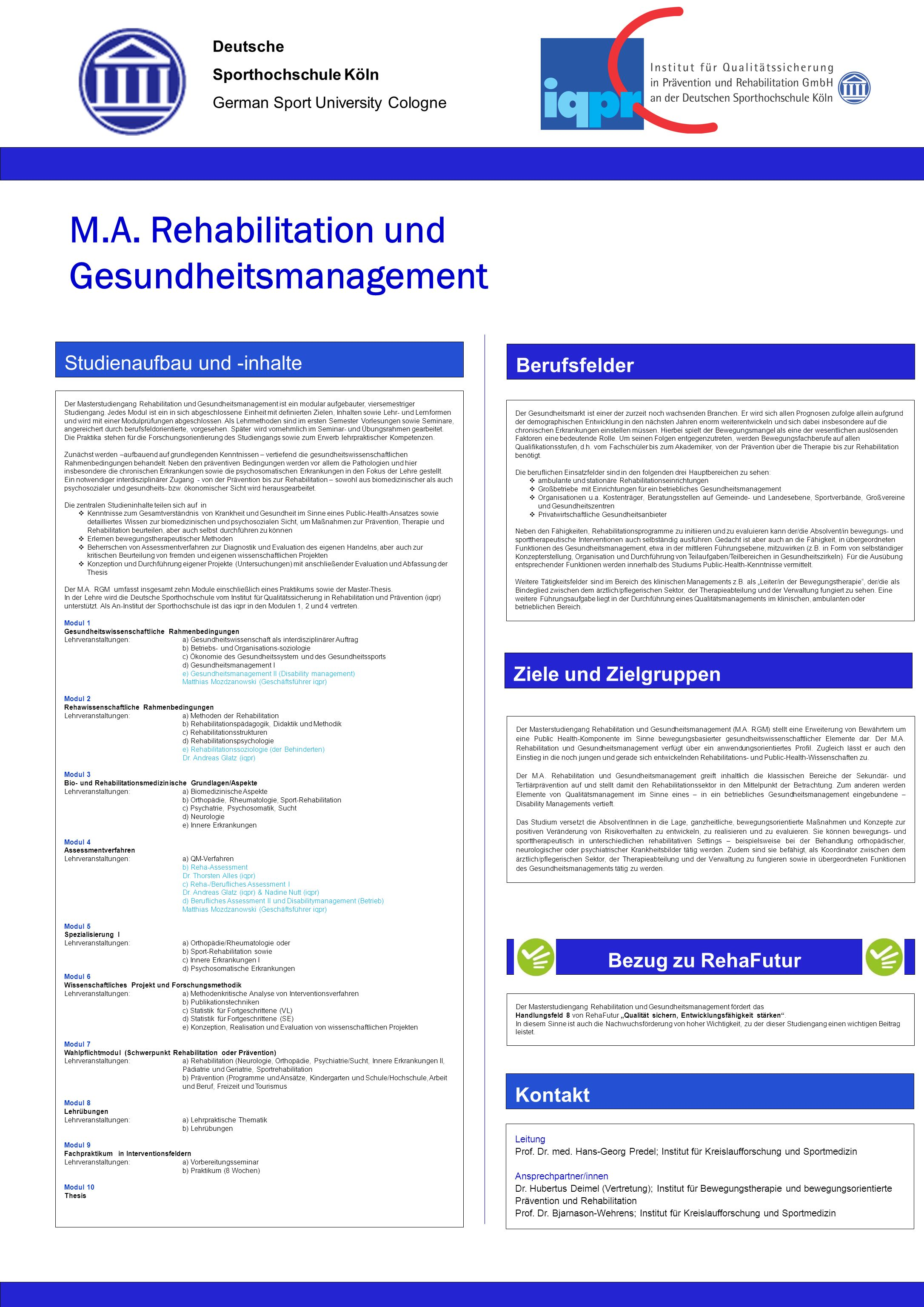 M.A. Rehabilitation und Gesundheitsmanagement