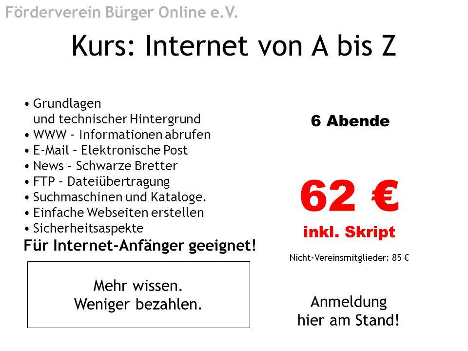 Kurs: Internet von A bis Z
