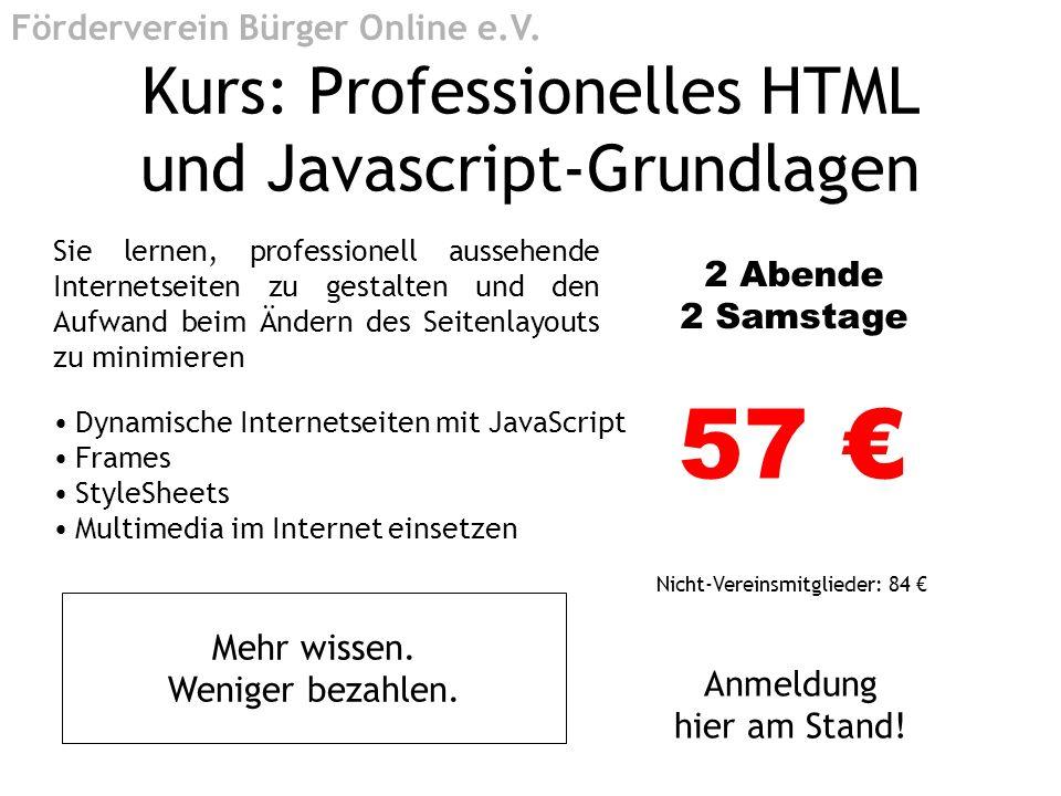 Kurs: Professionelles HTML und Javascript-Grundlagen