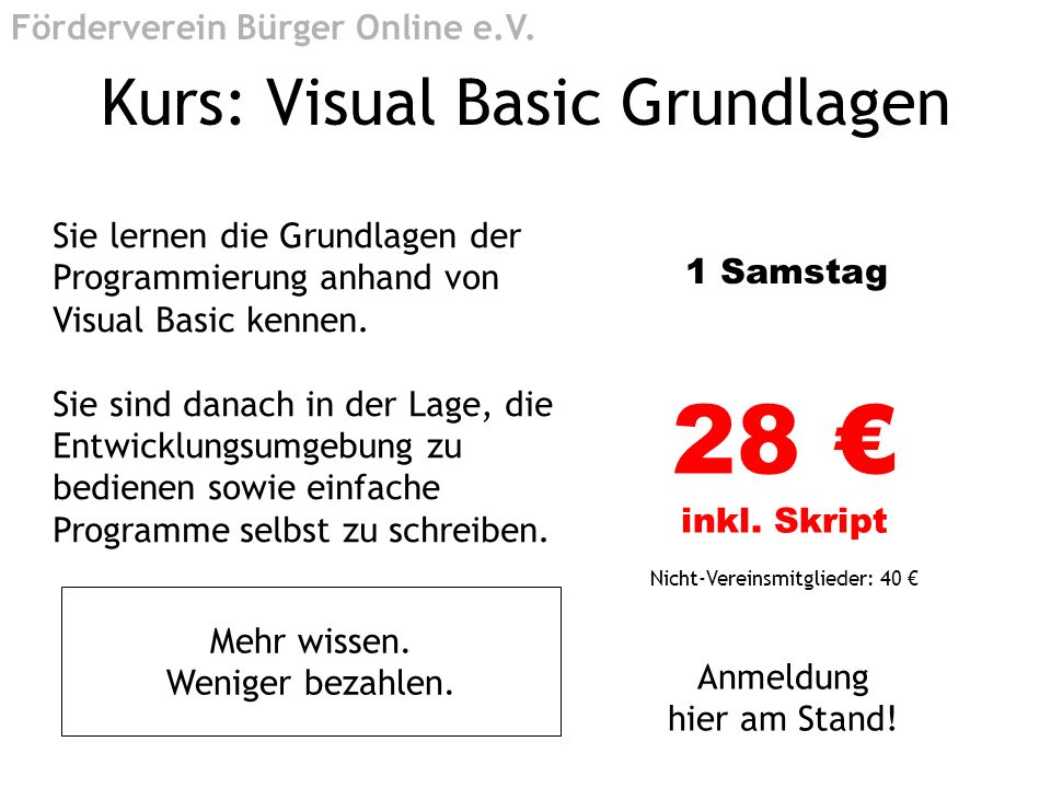 Kurs: Visual Basic Grundlagen