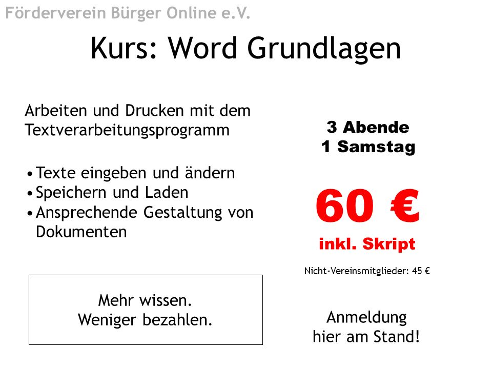 60 € inkl. Skript Kurs: Word Grundlagen