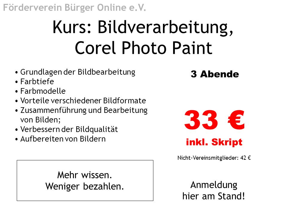Kurs: Bildverarbeitung, Corel Photo Paint