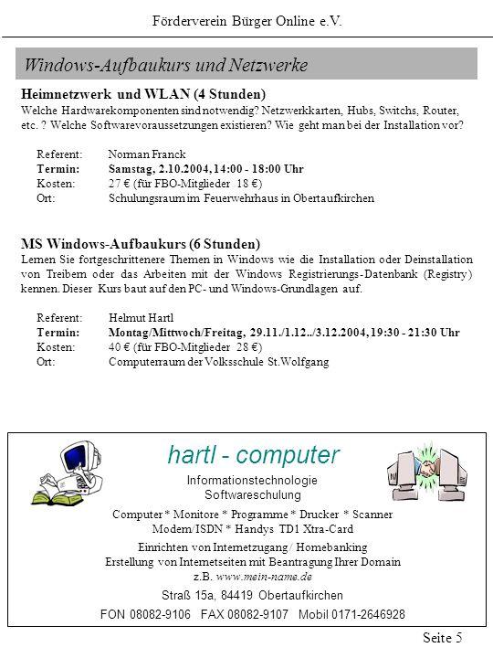 hartl - computer Windows-Aufbaukurs und Netzwerke