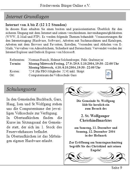 Internet Grundlagen Schulungsorte Förderverein Bürger Online e.V.