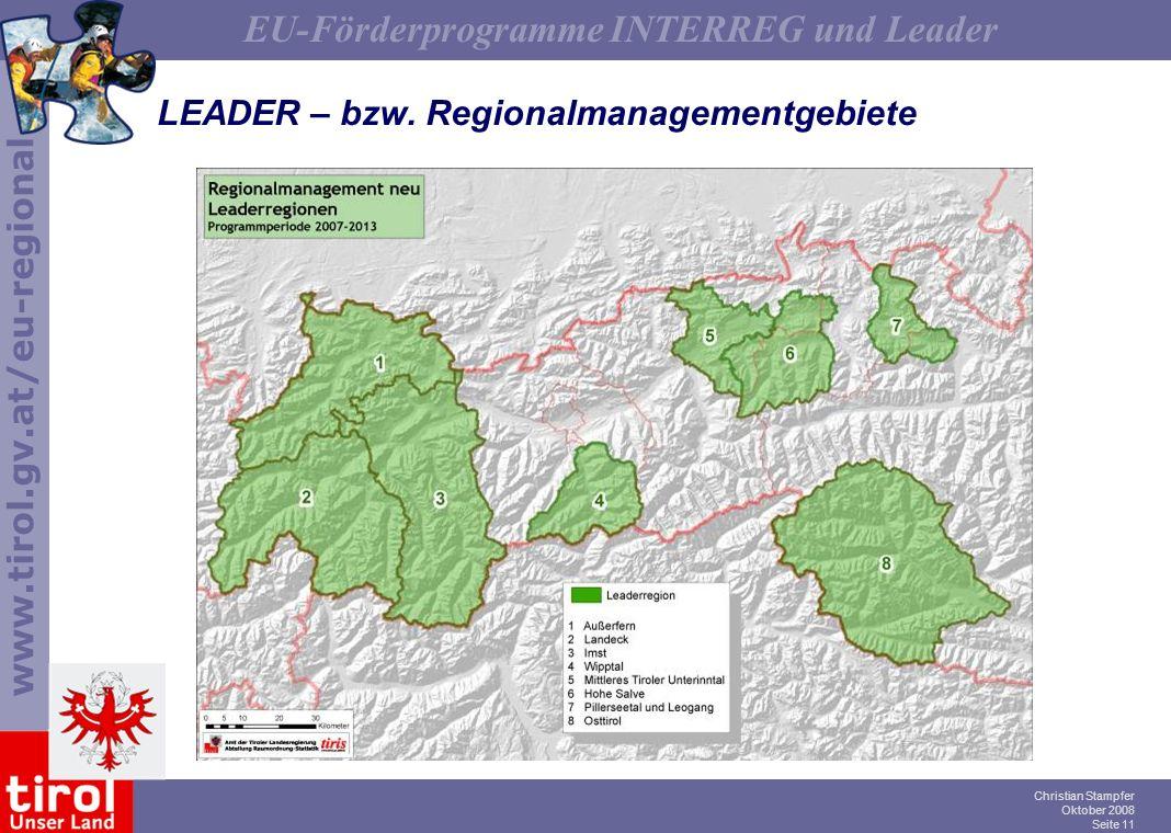 LEADER – bzw. Regionalmanagementgebiete