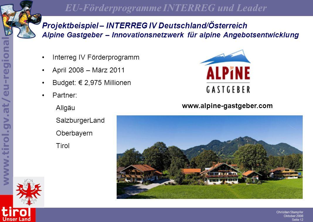 Projektbeispiel – INTERREG IV Deutschland/Österreich Alpine Gastgeber – Innovationsnetzwerk für alpine Angebotsentwicklung